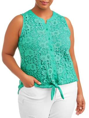 French Laundry Women's Plus Size Sleeveless Corchet Lace Tie Front Top with Back Crochet Detail