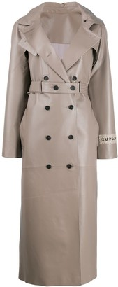 Ruban leather double breasted coat