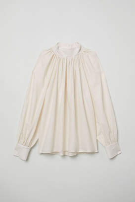 H&M Balloon-sleeved Blouse - Beige