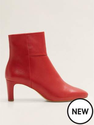MANGO Leather Ankle Boots - Red