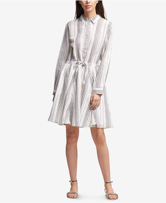 DKNY Striped Drawstring-Waist Shirtdress, Created for Macy's