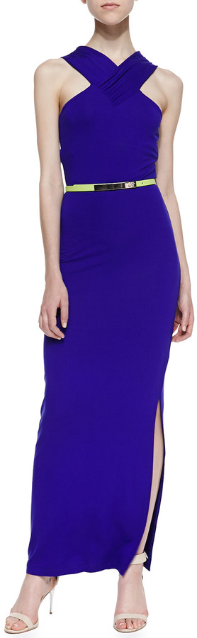 Ted Baker Jessami Sleeveless Halter Neon-Stripe Stretch-Knit Dress, Mid Purple