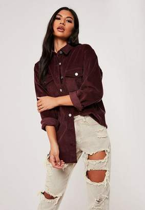Missguided Purple Cord Super Oversized Shirt