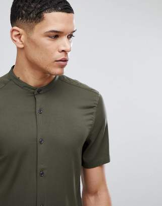 Asos Muscle Shirt With Grandad Collar In Khaki