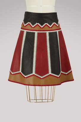 RED Valentino Leather patchwork skirt