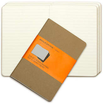 Moleskine NEW Cahier Pocket Ruled Notebook Set 3pce Kraft