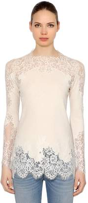 Ermanno Scervino Wool Blend Knit & Silk Lace Top