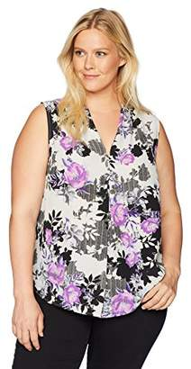Nine West Women's Plus Size Printed Amber V-Neck Cami Blouse