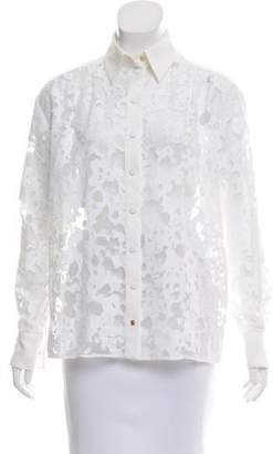 Ungaro Sheer-Accented Button-Up Top