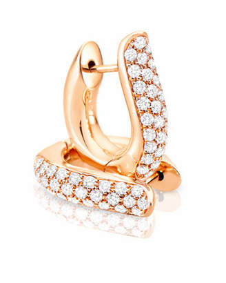 Tamara Comolli Pave Diamond Hoop Earrings in 18K Rose Gold