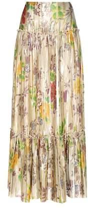 Etro Pleated metallic silk skirt