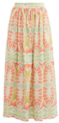 Le Sirenuse Le Sirenuse, Positano - Jane Abstract Print Cotton Poplin Skirt - Womens - Pink Multi