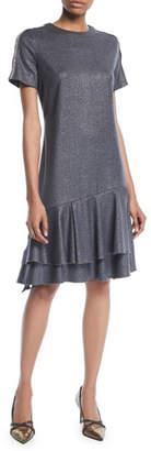 Brunello Cucinelli Crewneck Short-Sleeve Metallic-Wool A-Line Dress w/ Flounce Hem