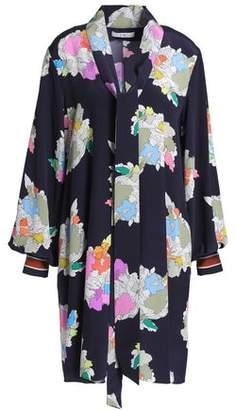 Tibi Draped Printed Silk Crepe De Chine Mini Dress
