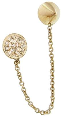 Sydney Evan Pavé Disc and Spike Stud Ear Climber Earrings
