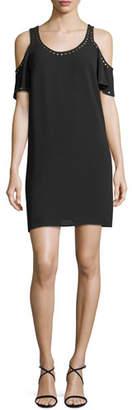 MICHAEL Michael Kors Studded-Trim Cold-Shoulder Dress