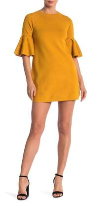 Dee Elly Crew Neck 3\u002F4 Bell Sleeve Mini Dress