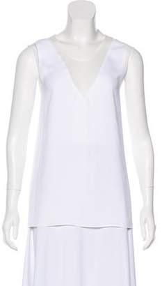 Helmut Lang Sheer-Accented Sleeveless Blouse w/ Tags