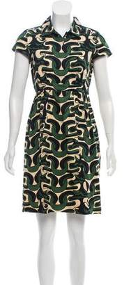 Diane von Furstenberg Cap Sleeve Knee-Length Printed Dress