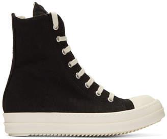 Rick Owens Black Canvas Cap Toe High-Top Sneakers