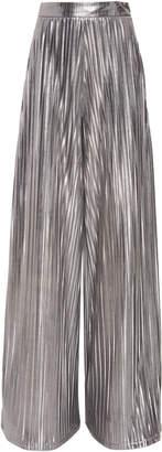Christian Siriano Pleated Metallic High-Rise Pants