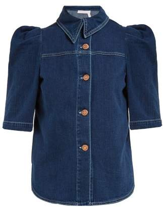 See by Chloe Puffed Sleeve Denim Shirt - Womens - Blue