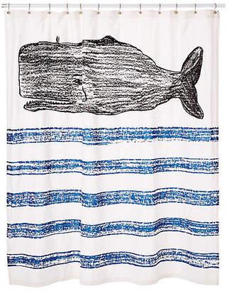 Thomas Paul Whale Sketch Shower Curtain - Black/Blue