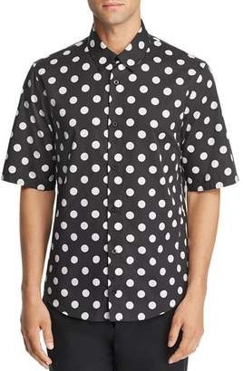 Versace Short-Sleeve Logo-Print Polka Dot Regular Fit Shirt