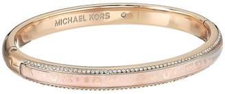 Michael Kors Heritage In Full Bloom Pave Rimmed Bangle with Floral Motif Bracelet