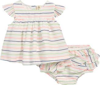 512459adf780 Tucker + Tate Neon Stripe Dress & Ruffle Bloomers Set