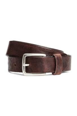H&M Narrow Leather Belt - Dark cognac brown - Men