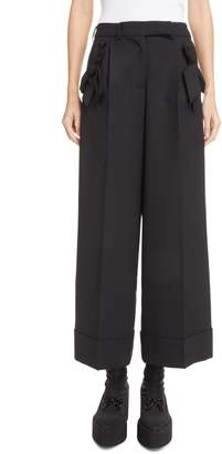 Simone Rocha Bow Pocket Wide Leg Stretch Wool Pants