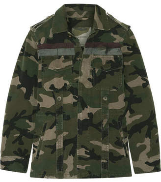 Valentino Striped Camouflage-print Cotton-gabardine Jacket - Army green