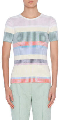 Akris Punto Short-Sleeve Ribbed Wool Pullover Sweater