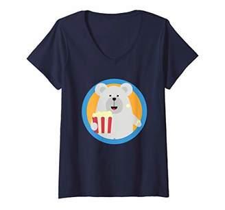 Womens Polar Bear eating Popcorn with circle | Cinema V-Neck T-Shirt