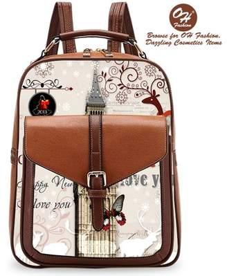 OH Fashion Handbag Backpack European Dream London Design Rucksack Travel Bag Color Brown with Designs