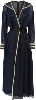 Amanda Wakeley Lame Belted Wrap Dress