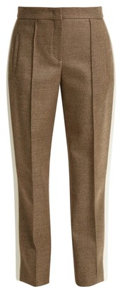 Fendi - Side Stripe Wool Blend Twill Trousers - Womens - Grey