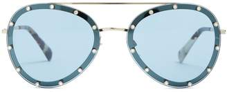 Valentino Crystal-embellished aviator metal sunglasses