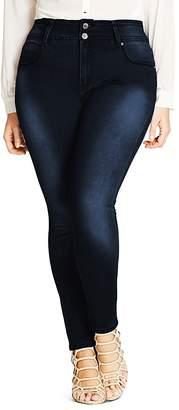 City Chic Asha Skinny Jeans in Dark Denim
