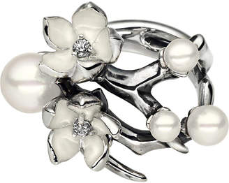 Shaun Leane Cherry Blossom silver, white pearl and diamond ring