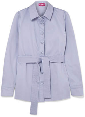Sabrina STAUD Belted Stretch-cotton Jacket - Lilac