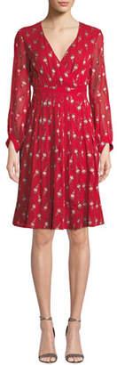 BA&SH Memory Floral Long-Sleeve V-Neck Dress