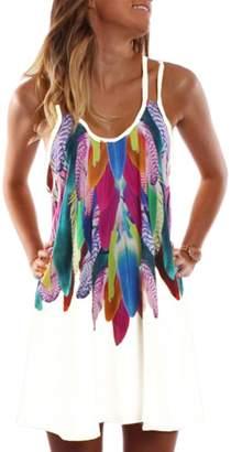 Zilcremo Women Plus Size Summer Casual Cami Floral Print Tunic Beach Dress L