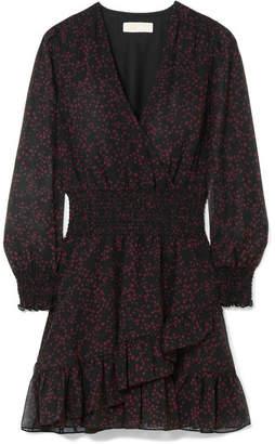 MICHAEL Michael Kors Shooting Star Wrap-effect Ruffled Printed Georgette Mini Dress - Burgundy