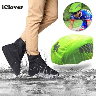 iClover Waterproof Bike Bicycle Helmet Cover Rain Cover Night Visual High Visibility IClover + Waterproof Rainproof 12.6inch/US 12 Shoe Covers Rain Boots Overshoes Protector PVC Fabric Zippered XXL Size