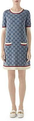 Gucci Women's Fine Wool Intarsia Knit Short-Sleeve Dress