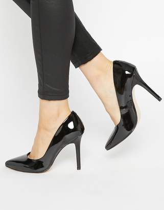 Faith Callaways Black Patent Heeled Court Shoes