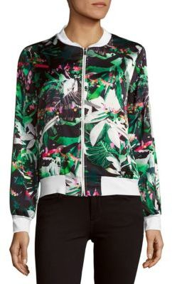 Floral Baseball-Collar Jacket $132 thestylecure.com