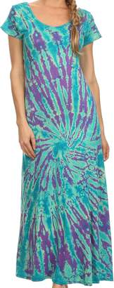 Sakkas SP2 - Diana Long Tie Dye Scoop Neck Cap Sleeves Dress - OS